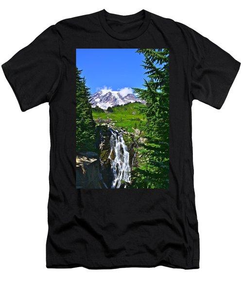 Mt. Rainier From Myrtle Falls Men's T-Shirt (Athletic Fit)