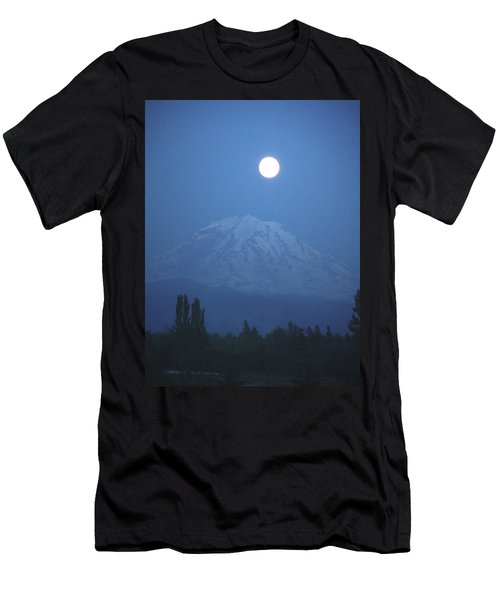 Mt Rainier Full Moon Men's T-Shirt (Athletic Fit)