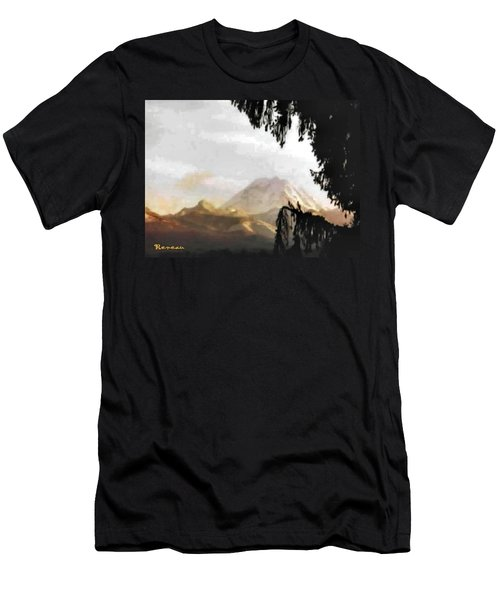 Men's T-Shirt (Slim Fit) featuring the photograph Mt. Rainier In Lace by Sadie Reneau