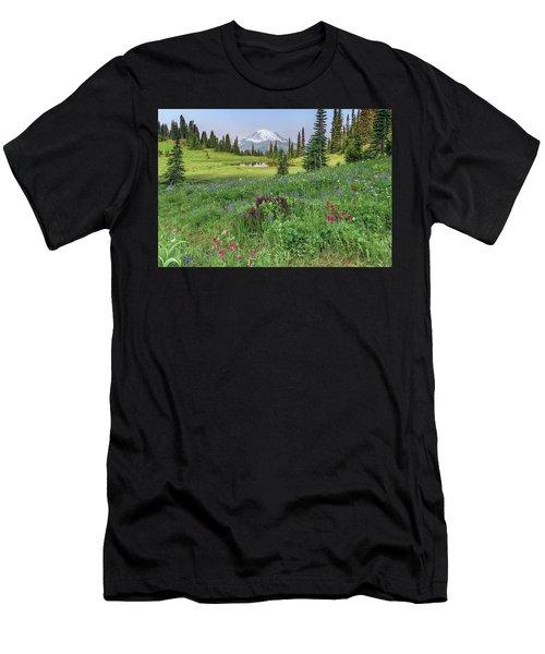 Mt Rainier Meadow Flowers Men's T-Shirt (Athletic Fit)