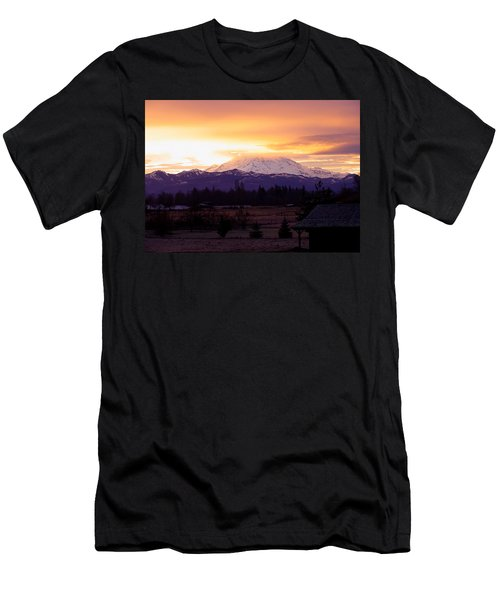 Mt. Rainier On Fire Men's T-Shirt (Athletic Fit)