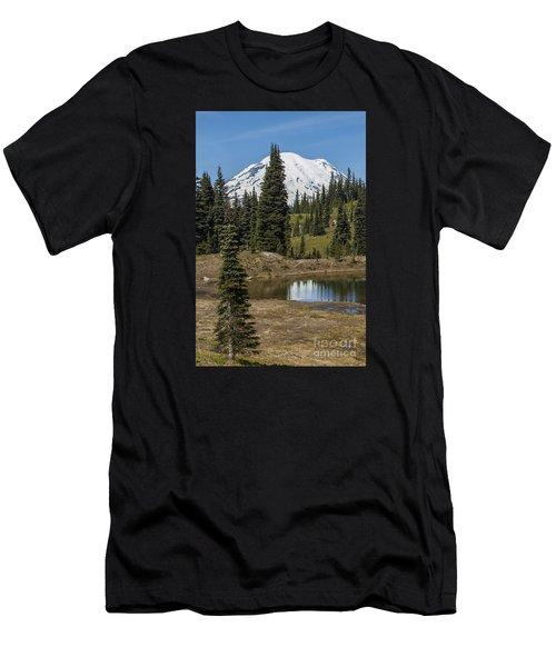 Mt Rainier Reflection Portrait Men's T-Shirt (Athletic Fit)