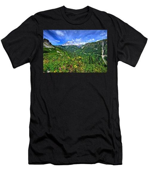 Mt. Rainier Through The Clouds  Men's T-Shirt (Athletic Fit)