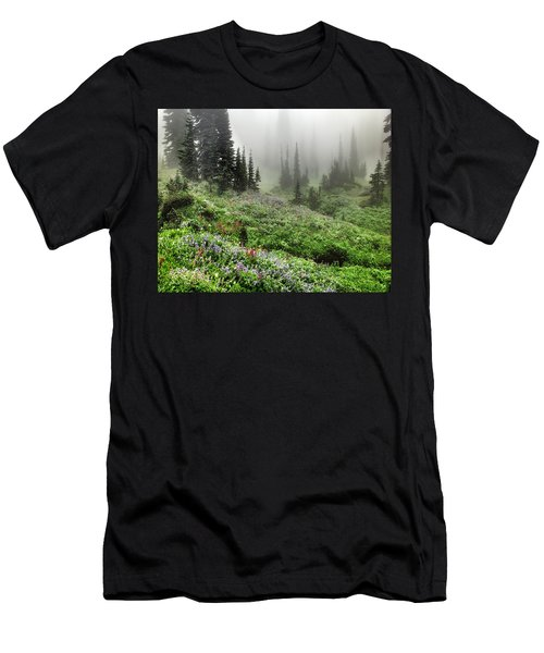 Mt Rainier Wildflowers Men's T-Shirt (Athletic Fit)