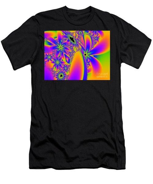 Multi-coloured Fractal Flowers Men's T-Shirt (Athletic Fit)