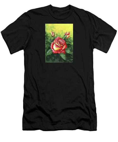 Multi Coloured Rose Sketch Men's T-Shirt (Athletic Fit)