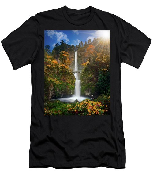 Multnomah Falls In Autumn Colors -panorama Men's T-Shirt (Athletic Fit)