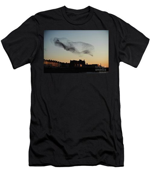 Murmuration Of Starlings Over Aberystwyth Wales Uk Men's T-Shirt (Athletic Fit)