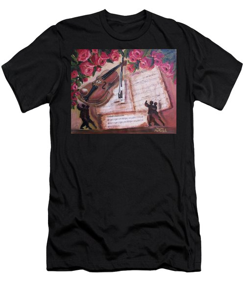 Music And Roses Men's T-Shirt (Athletic Fit)