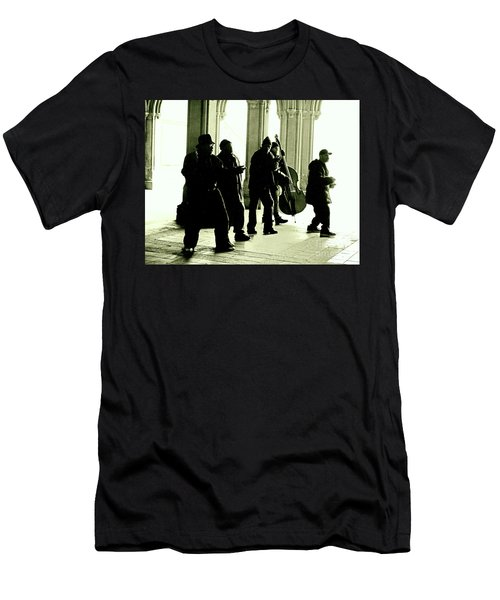 Men's T-Shirt (Slim Fit) featuring the photograph Musicians In The Park by Sandy Moulder