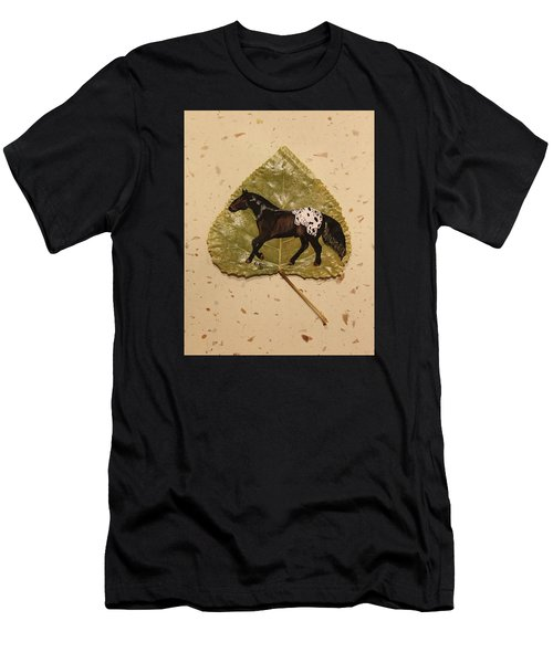 Mustang Appaloosa On Poplar Leaf Men's T-Shirt (Athletic Fit)