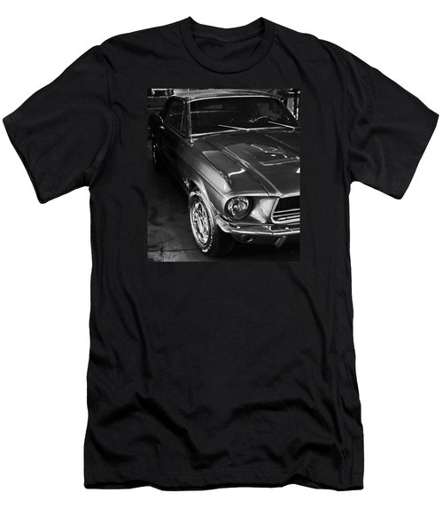 Mustang In Black And White Men's T-Shirt (Athletic Fit)
