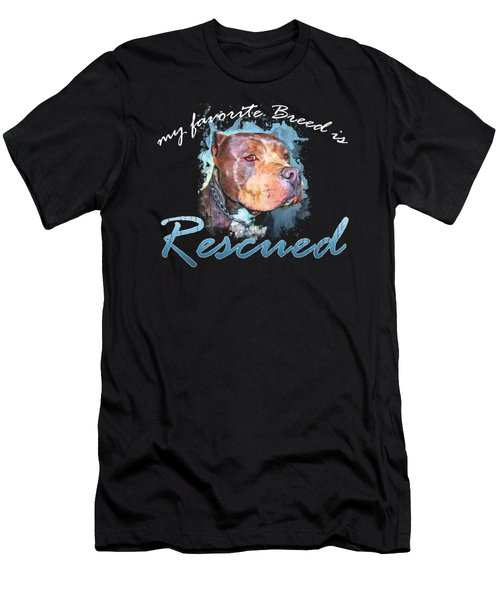 My Favorite Breed Is Rescue Watercolor 2 Men's T-Shirt (Athletic Fit)