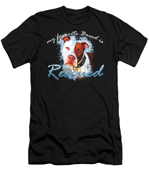 My Favorite Breed Is Rescue Watercolor 3 Men's T-Shirt (Athletic Fit)
