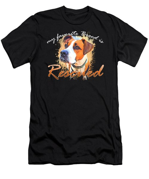 My Favorite Breed Is Rescued Watercolor 5 Men's T-Shirt (Athletic Fit)