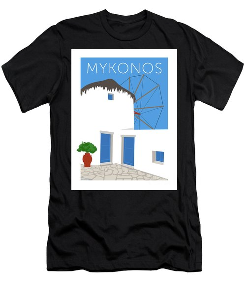 Men's T-Shirt (Athletic Fit) featuring the digital art Mykonos Windmill - Blue by Sam Brennan
