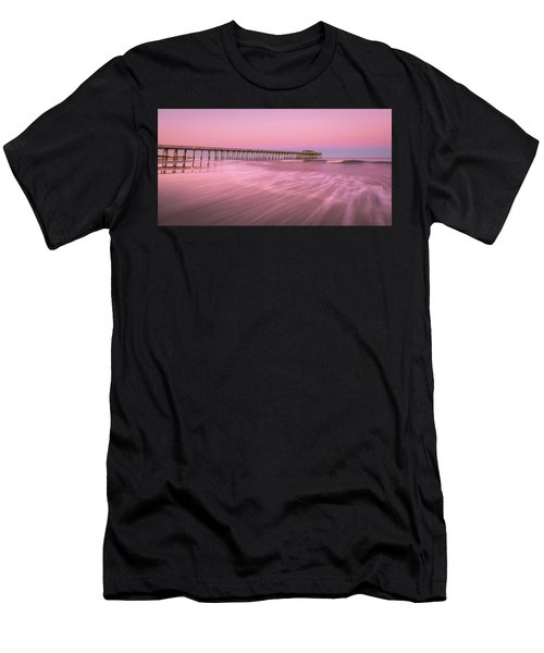 Men's T-Shirt (Athletic Fit) featuring the photograph Myrtle Beach Fishing Pier At Sunset Panorama by Ranjay Mitra