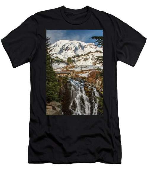 Myrtle Falls, Mt Rainier Men's T-Shirt (Slim Fit) by Tony Locke