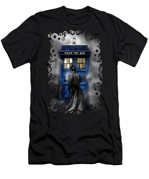 Mysterious Time Traveller With Black Jacket Men's T-Shirt (Slim Fit) by Three Second