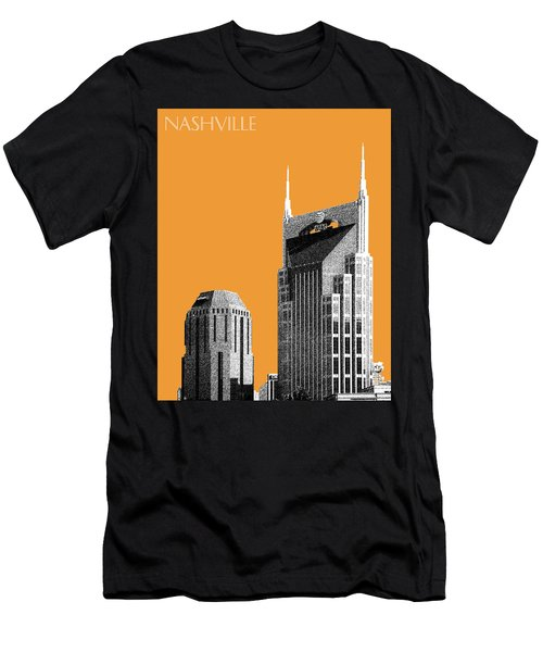 Nashville Skyline At And T Batman Building - Orange Men's T-Shirt (Slim Fit) by DB Artist
