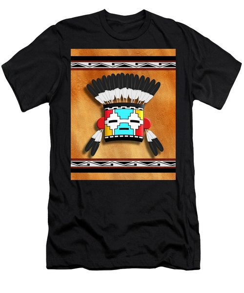 Men's T-Shirt (Slim Fit) featuring the digital art Native American Indian Kachina Mask by John Wills