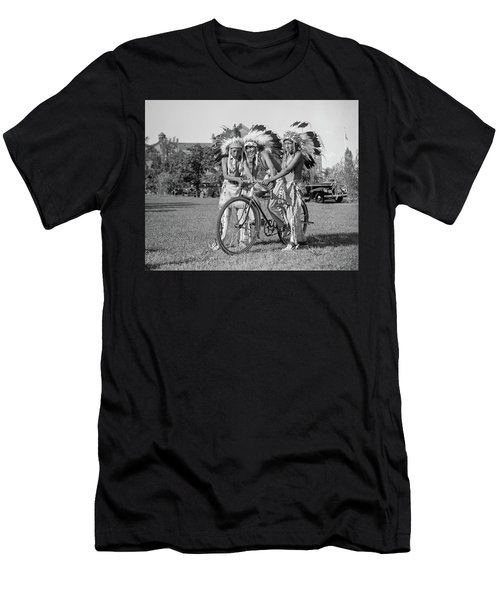Native Americans With Bicycle Men's T-Shirt (Athletic Fit)