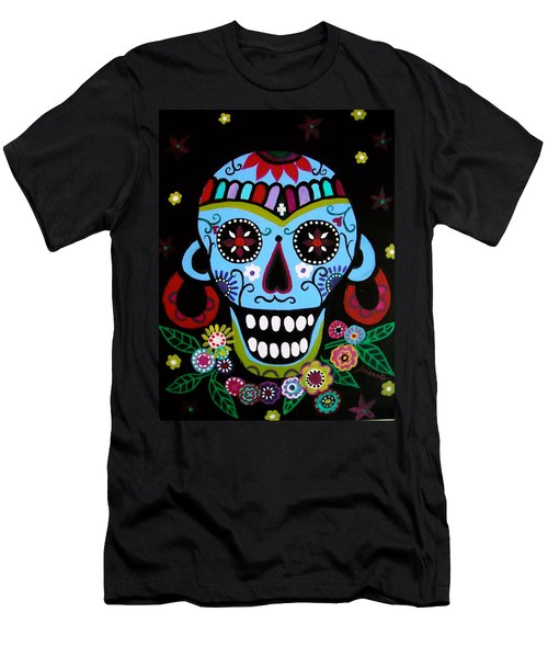 Native Dia De Los Muertos Skull Men's T-Shirt (Slim Fit) by Pristine Cartera Turkus