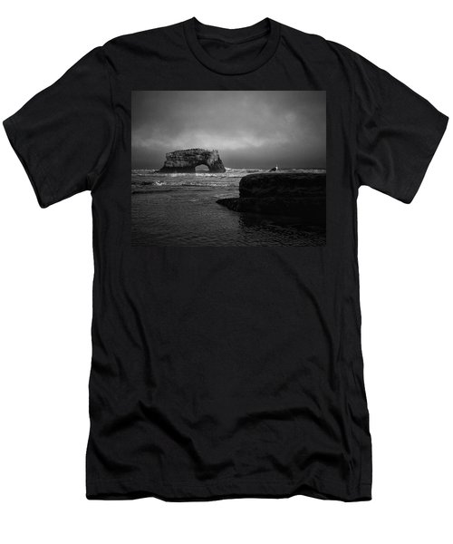 Men's T-Shirt (Athletic Fit) featuring the photograph Natural Bridge And The Gull by Lora Lee Chapman