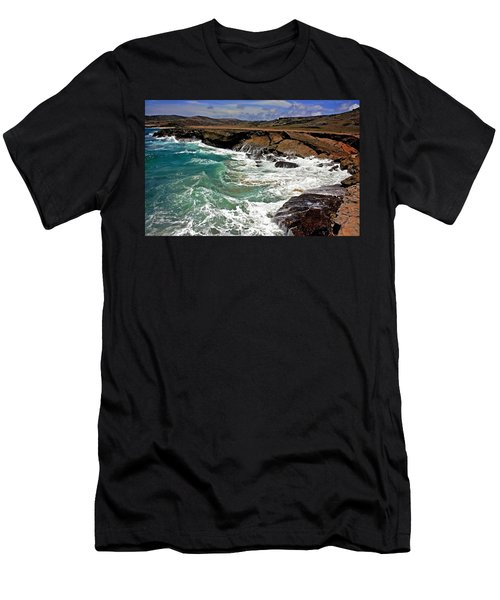 Men's T-Shirt (Slim Fit) featuring the photograph Natural Bridge Aruba by Suzanne Stout