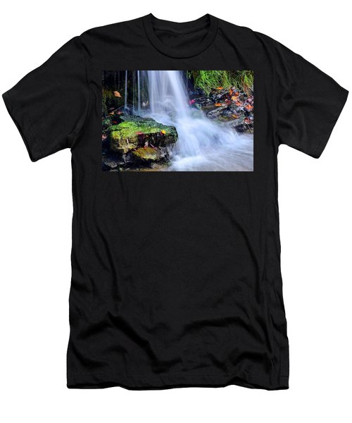 Men's T-Shirt (Slim Fit) featuring the photograph Natural Flowing Water by Frozen in Time Fine Art Photography