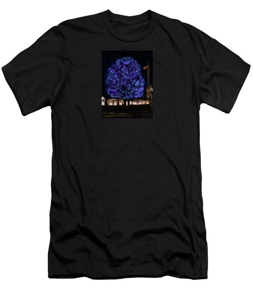Men's T-Shirt (Slim Fit) featuring the painting Needham's Blue Tree by Jean Pacheco Ravinski