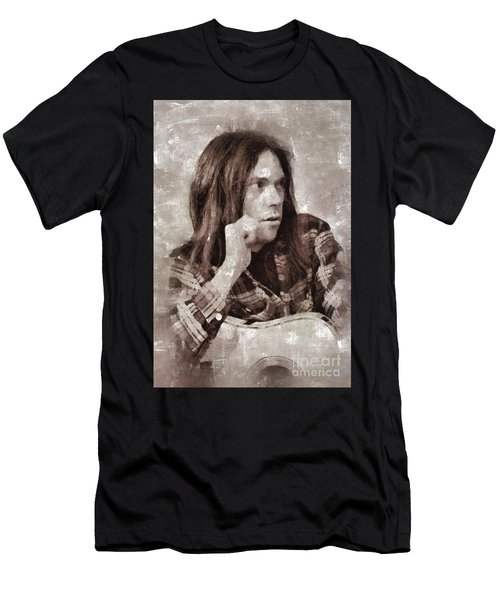 Neil Young By Mary Bassett Men's T-Shirt (Athletic Fit)