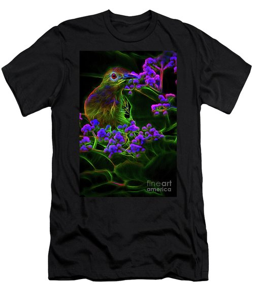 Men's T-Shirt (Athletic Fit) featuring the digital art Neon Sunbird by Ray Shiu