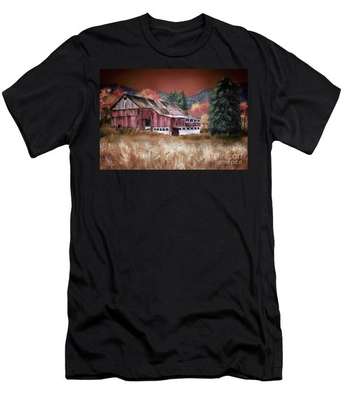 Men's T-Shirt (Slim Fit) featuring the digital art Nestled In The Laurel Highlands by Lois Bryan