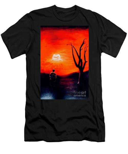 Men's T-Shirt (Athletic Fit) featuring the painting New Day by Sher Nasser