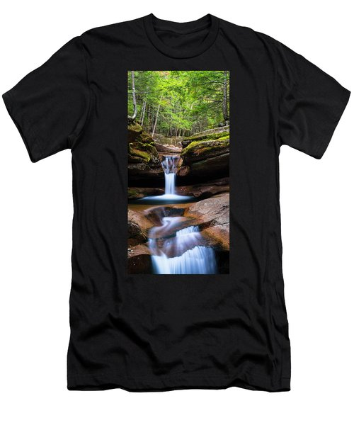 New Hampshire Sabbaday Falls And Fall Foliage Panorama Men's T-Shirt (Slim Fit) by Ranjay Mitra
