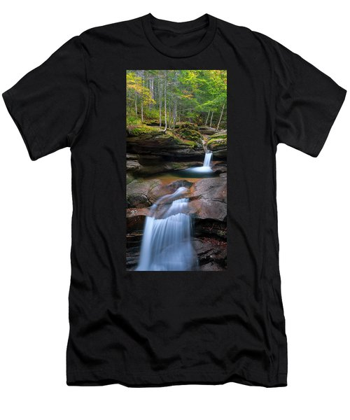 New Hampshire Sabbaday Falls Panorama Men's T-Shirt (Athletic Fit)