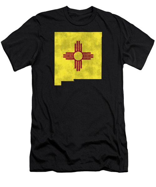 New Mexico Map Art With Flag Design Men's T-Shirt (Athletic Fit)