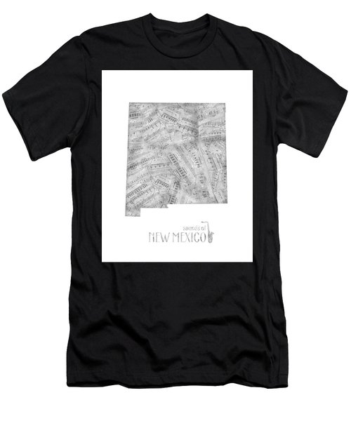New Mexico Map Music Notes Men's T-Shirt (Athletic Fit)