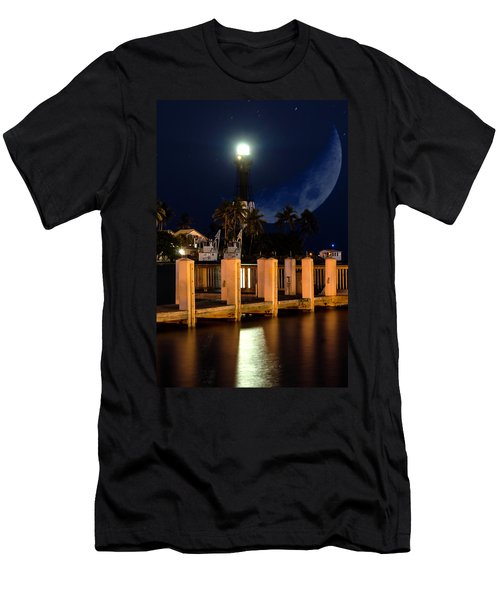 New Moon At Hillsboro Inlet Lighthouse Men's T-Shirt (Athletic Fit)