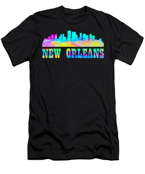 Men's T-Shirt (Athletic Fit) featuring the photograph New Orleans Skyline Watercolor by David Millenheft