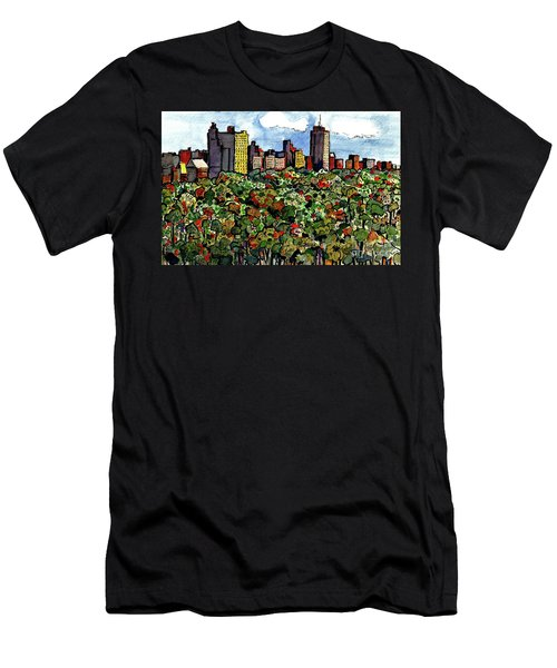 Men's T-Shirt (Slim Fit) featuring the painting New York Central Park by Terry Banderas
