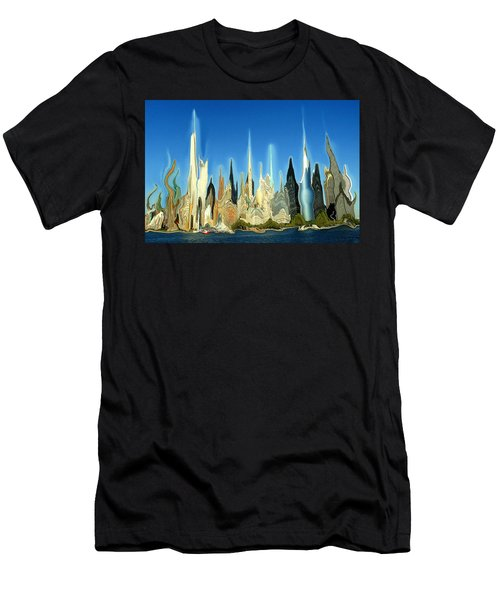New York City Skyline 2100 - Modern Artwork Men's T-Shirt (Athletic Fit)