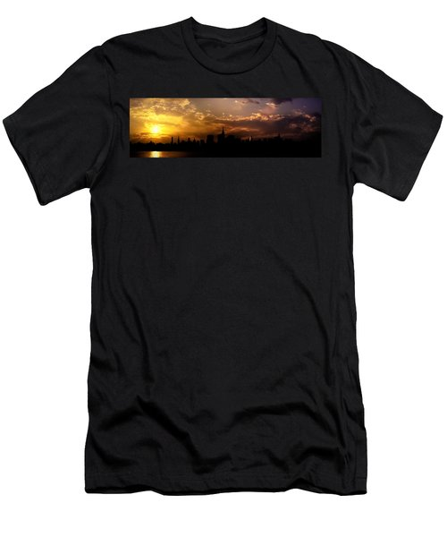 New York City Skyline At Sunset Panorama Men's T-Shirt (Athletic Fit)