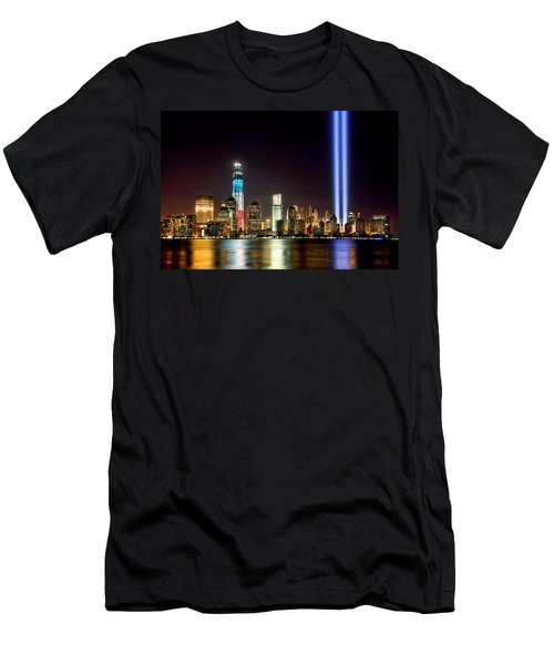 New York City Skyline Tribute In Lights And Lower Manhattan At Night Nyc Men's T-Shirt (Athletic Fit)