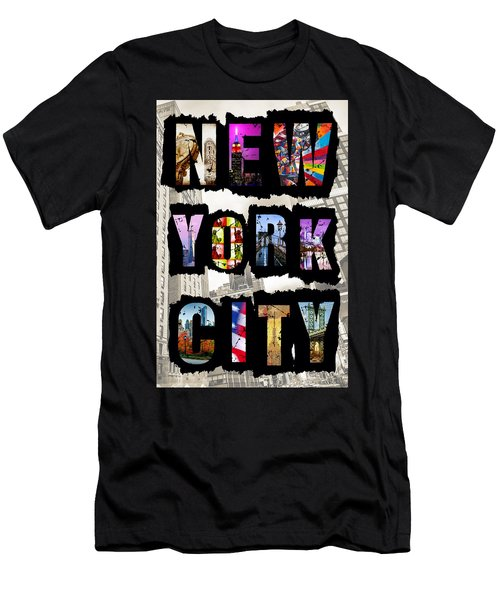 New York City Text Men's T-Shirt (Athletic Fit)