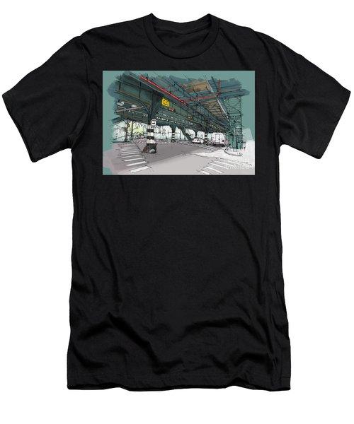 New York Drawing. Mta Subway. Simpson St. Handmade Sketch Men's T-Shirt (Athletic Fit)