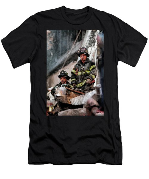 Men's T-Shirt (Slim Fit) featuring the painting New York Firefighters After 9/11 Part 2 by Kai Saarto