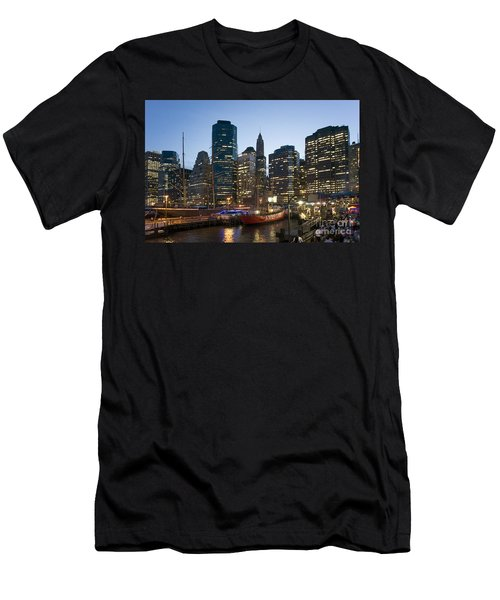 Men's T-Shirt (Athletic Fit) featuring the photograph New York Manhattan Seaport by Juergen Held