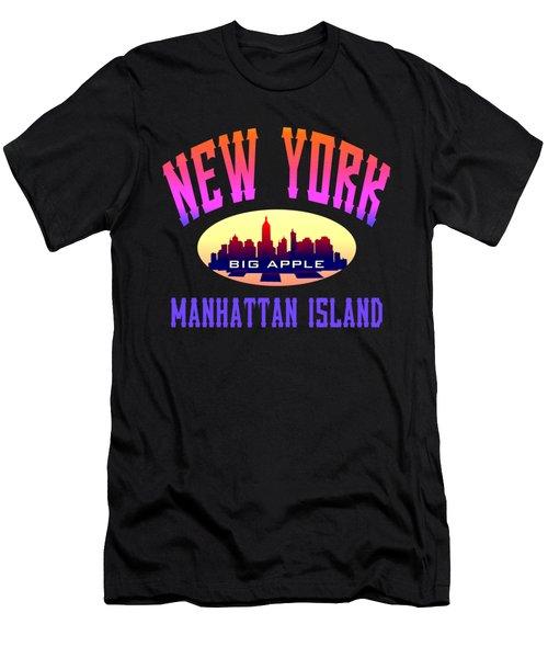 New York Manhattan Island Design Men's T-Shirt (Athletic Fit)